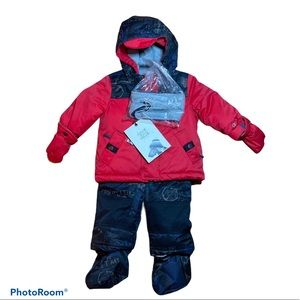 6 -12 M Red & Blue Snow Suit with gloves and feet